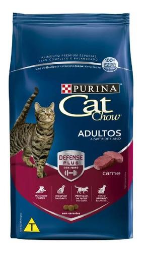 Ração Cat Chow Gatos Adultos Sabor Carne 3kg