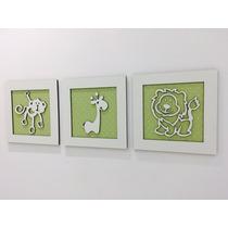 Trio De Quadros Decoração Quarto Do Bebê Safári