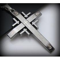 Colar Crucifixo Pingente Cruz Jesus Bíblia Pai Nosso Titânio