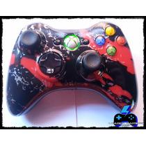 Controle Xbox 360 Original Personalizado S/fio Black And Red