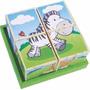 Quebra Cabeça Cubos Cubinho- Animais Da Selva Bebe +18 Meses