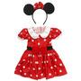 Fantasia Minnie Mouse Disney Vestido + Tiara 3 A 4 Anos