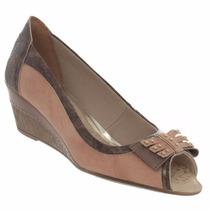 Sapato Salto Anabela Dakota Couro Laço Leve Linda B2612