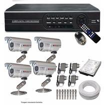 Kit Dvr 8 Canais + 4 Câmera Ccd 1000l + Hd 1tb + Cabo 8ch