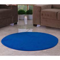 Tapete Redondo Liso Quarto Sala Pelúcia 1,10m Azul Royal