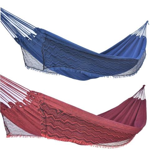 Kit 2 Rede De Dormir Descanso Casal Jeans Balanco Resistente