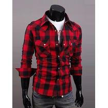 Camisa Xadrez Masculina Slim Vermelho