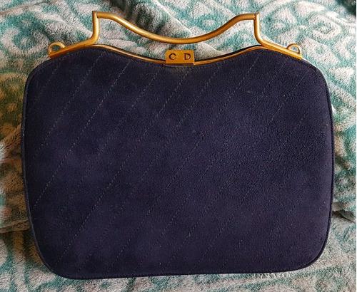 7f5d3c64132 Bolsa Antiga Vintage Cristian Dior Original Camurça Azul