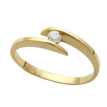 Anel Solitário Em Ouro 18 Quilate E Diamante De 5pt