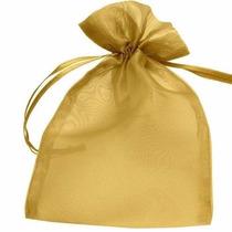 100 Saquinhos De Organza 7x9 Cm - Dourado * Menor Preço *