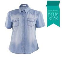 Camisa Jeans Masculina Feminina Normal E Plus Size Fact 2503