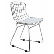 Cadeira Kids Em Aço Cromado E Almofada Branca
