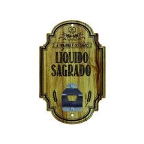 Abridor De Garrafa Parede Líquido Sagrado Madeira