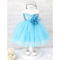 Vestido Infantil Frozen Azul Importado Pronta Entrega