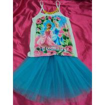 Conjunto Vestido Ana E Elsa Frozen Blusa + Saia De Tule Azul