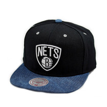 Boné Mitchell And Ness Snapback Brooklyn Nets Denin Preto