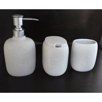 Kit Banheiro Pia 3 Peças Resina Cinza Pedra Lindo Acabamento