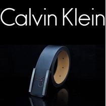 Cinto Masculino Couro Social Fivela Calvin Klein - Importado