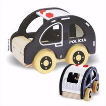 Carrinho De Polícia - Brinquedo De Madeira