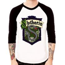 Camisa Blusa Raglan 3/4 Harry Potter Sonserina