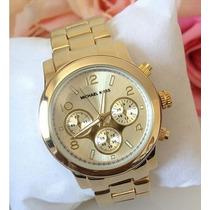 Relógio De Pulso Feminino Michael Kors Luxo Eleganc Dourado