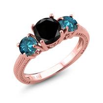 Black Diamond Rose Gold Anel De Prata Banhado