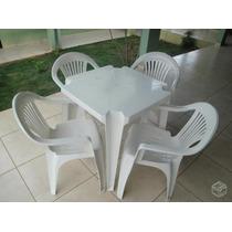 Conjunto 1 Mesa E 4 Cadeiraspoltronas Original Goyana 140 K