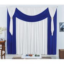 Cortina France P/janela Quarto Sala 4,00x2,80 Azul Branco