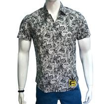 Camisa Masculina Social Slim Fit Estampa Floral