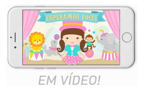 3fb4b80785 Convite Animado Circo Rosa Candy Color Menina Vídeo C/ Fotos
