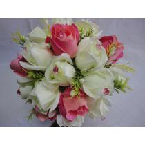 Buquê / Bouquet De Noiva Flores Rosas Artificiais Cb002m