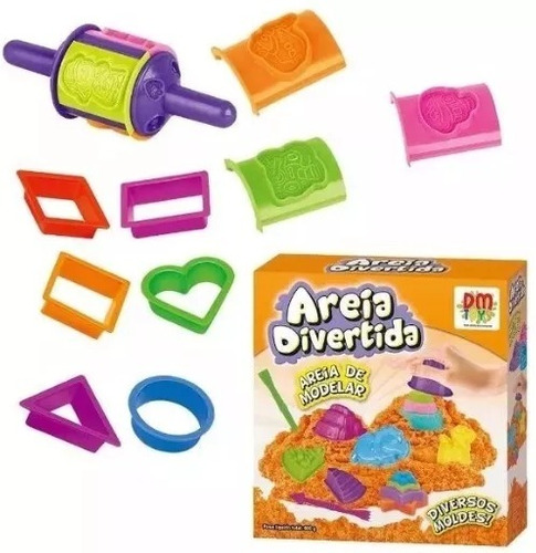 535c25f396 Areia De Modelar Divertida Colors 600g C  12 Moldes E Formas. R  46.6