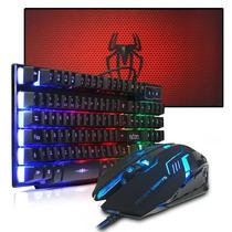Kit Gamer Teclado Semi Mecânico + Mouse Pad 70x35 + Mouse