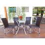 Conjunto Sala Da Jantar Mesa Tampo Vidro 4 Cadeiras Df