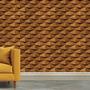 Papel De Parede Madeira Efeito 3d Blocos Rustico  3mts