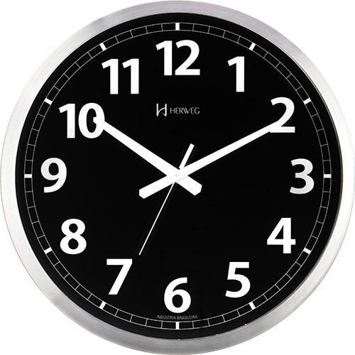 9a9787aba82 Relógio De Parede 40cm Preto Tic-tac Alumínio Herweg 6720