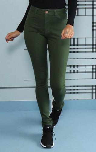 0ab105b91 Calça Feminina Cintura Alta Verde Militar Lady Rock Elastano à venda ...