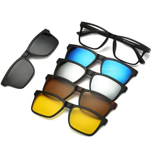 39f94d25df7d8 Armação Óculos Grau Sol E Noite Polarizado 6 Em 1 Clip On