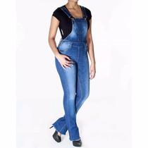 Sawary Macacão Jeans Feminino Flare Com Elastano