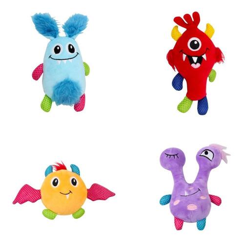 4 Brinquedos De Pelúcia Coleção Monster Para Cachorro Pawise