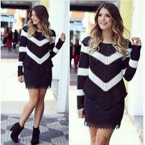 Blusa Listrada Tricot Crochet Em V Preferida Das Blogueiras