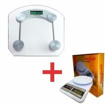 Balança Cozinha Digital + Balança Banheiro Vidro Temperado