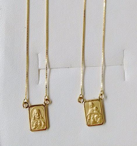 Escapulário De Ouro 18k 60cm Dupla Face Corrente Veneziana 267d291e4b