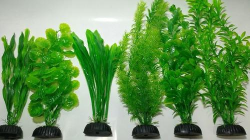 Plantas Artificiais Aquário Green Misto - 3un 20cm 3un 30cm