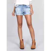 Shorts Jeans Com Barra Desfiada Feminino Equus