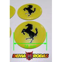 Emblemas De Roda Ferrari Cavalo Amarelo 58mm - Abaulado