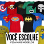 Kit Com 2 Camisetas Adulto De Super Herois Divertidas Geek