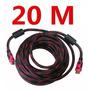 Cabo Hdmi Full Hd 20m Ps3 Ps4 Projetor Lcd Tv Led 20 Metros