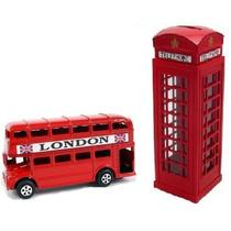 Miniatura Ônibus Londres 2 Andares + Cabine Telefônica
