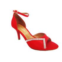 Sandália Feminina Festa Vizzano Vermelha Dcastros Calçados